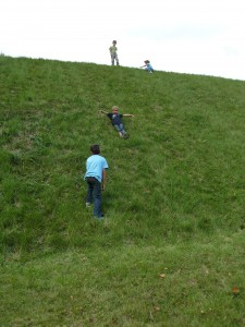 Kids Sliding down The Hill