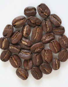 Roasted Coffee Beans Showing Silverskin in Crease