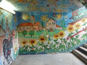 Scene Depicting Vincent Van Gogh Painting Village Church