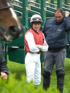 Jockey Waiting for Her Horse