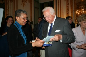 Monique Y. Wells and David McCullough at the U.S. Ambassador's Residence in Paris