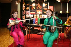 Two Women Performing at the Astrel Book Stand