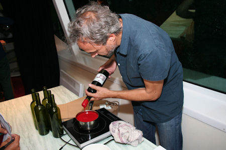 Thierry Sealing the Cork with Wax