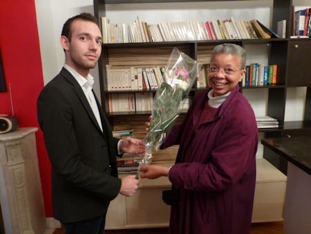 Mathais Presenting Monique with Roses