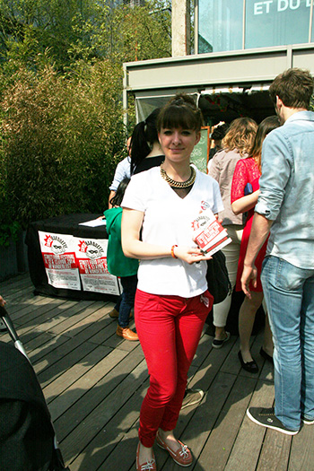 Woman with Brochure