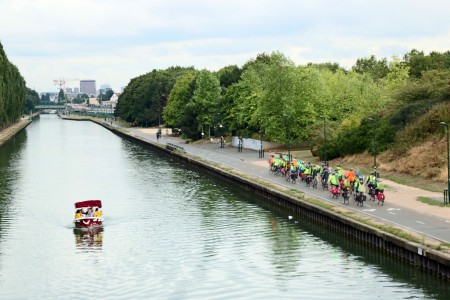 Bicyclists and Boaters on the Canal