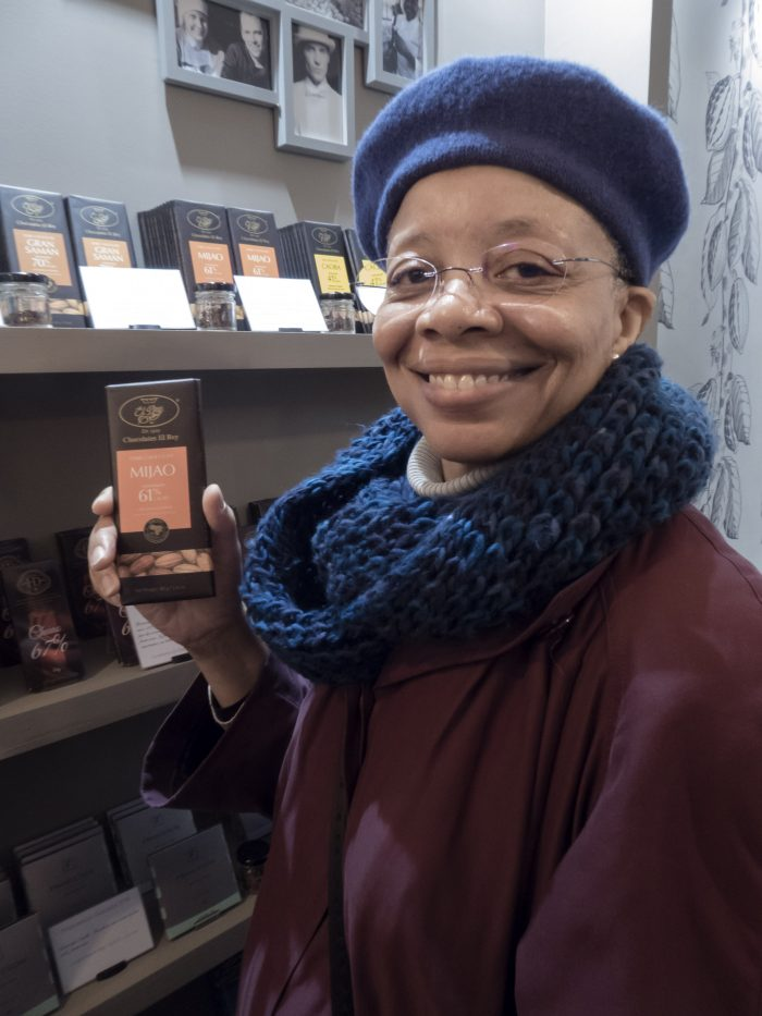 Monique Y. Wells Displays Bar of El Rey Chocolate