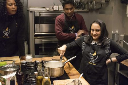 Ariqa Islam Stirs the Sauce for the Scallops